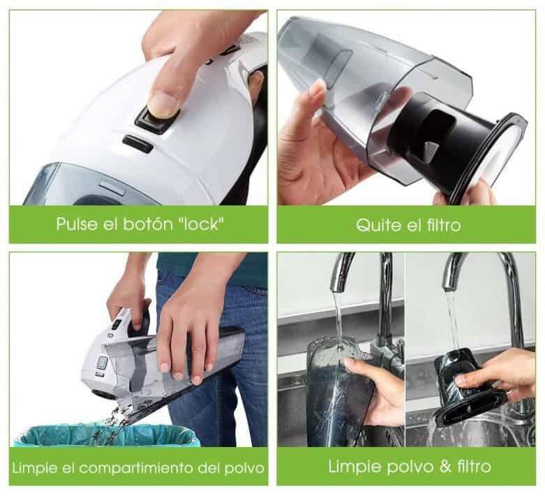 aspiradora de mano proceso de limpieza